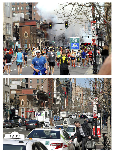This combination of April 15, 2013 and April 10, 2014 photos, the first provided by Bob Leonard, shows people running away from a bomb blast along Boylston Street near the finish line of the Boston Marathon, and a patron entering a taxi on the same street nearly a year later in Boston. (Photo by Courtesy of Bob Leonard/Elise Amendola/AP Photo)