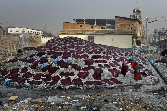 In this Monday, February 6, 2017 photo, a Bangladeshi woman puts strips of leather to dry at a tannery in Dhaka, Bangladesh. (Photo by A.M. Ahad/AP Photo)