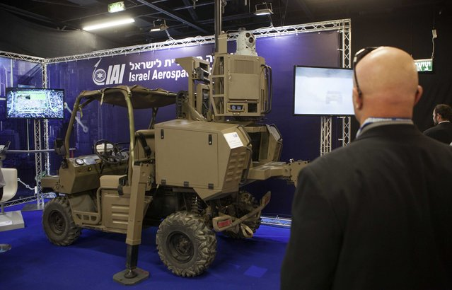 An Israeli surveillance vehicle is exhibited at an expo of Israeli intelligence-gathering technology in Tel Aviv, Israel, Tuesday, June 30, 2015. An exhibition of Israeli surveillance technology has offered a rare peek into the secretive world of Israeli espionage and special forces operations. Some two dozen Israeli companies exhibited their products used by Israeli and international militaries, police units and intelligence organizations. (Photo by Dan Balilty/AP Photo)