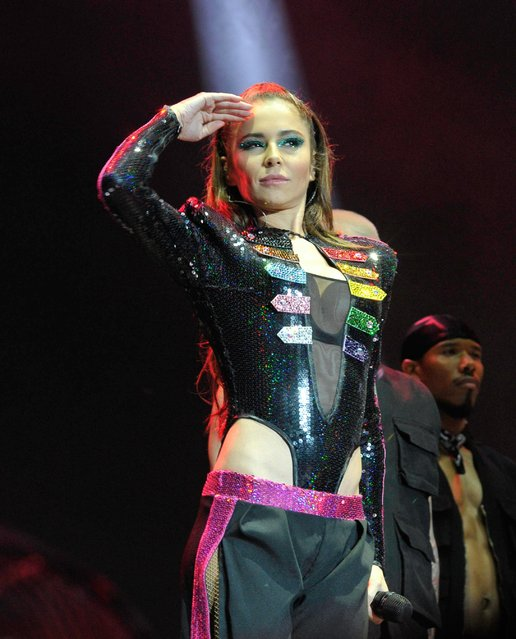 Cheryl performs during Manchester Pride 2019 on August 25, 2019 in Manchester, England. (Photo by Splash News and Pictures)