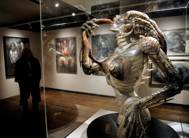 "A picture made available on 09 March 2011 shows a general view of Swiss artist H.R. Giger's exhibition ""Traeume und Visionen"" (Dreams and Visions) at the Kunsthaus Wien in Vienna, Austria, 08 March 2011.  (Photo by Robert Jaeger/EPA)"