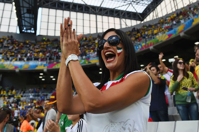 An Iran fan shows support prior to the 2014 FIFA World Cup Brazil Group F match between Iran and Nigeria at Arena da Baixada on June 16, 2014 in Curitiba, Brazil. (Photo by Matthias Hangst/Getty Images)