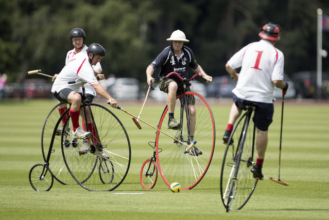 England team members in white shirts, compete against Scotland in the Penny Farthing International Polo fun match during the Bentley Motors Royal Windsor Cup Final at Guards Polo Club in Windsor Great Park, England, Sunday June 25, 2017.  The Penny Farthing cycle dates from late 1800's, but it is not known when they started to be used for polo, rather than the more normal horse power. (Photo by Steve Parsons/PA Wire via AP Photo)