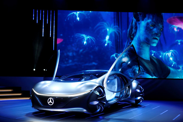 The Mercedes-Benz Vision AVTR concept car, inspired by the Avatar movies, is displayed after an unveiling at a Daimler keynote address during the 2020 CES in Las Vegas, Nevada, U.S. on January 6, 2020. (Photo by Steve Marcus/Reuters)