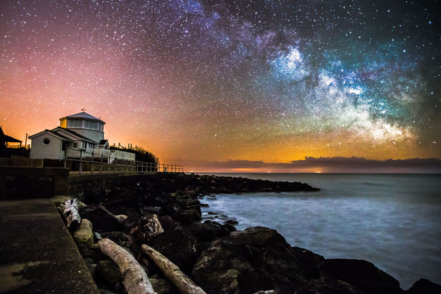 Milky Way above Steephill Cove on May 16, 2013, in Isle of Wight, UK. (Photo by Chad Powell/Barcroft Media)