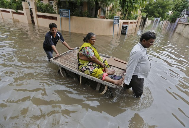 A woman is transported on a handcart through a flooded road after heavy monsoon rains in the western Indian city of Ahmedabad July 30, 2014. July, the second month of the monsoon season, usually gets the maximum rainfall, accounting for about a third of the seasonal downpour. (Photo by Amit Dave/Reuters)