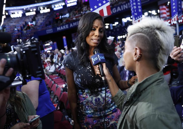 Television personality Omarosa is interviewed during the second day of the Republican National Convention in Cleveland, Ohio, U.S., July 19, 2016. (Photo by Jonathan Ernst/Reuters)