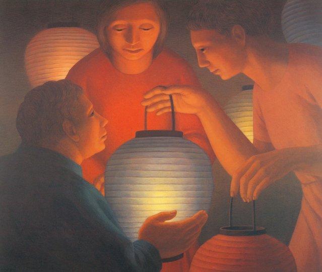 Lanterns. Artwork by George Tooker