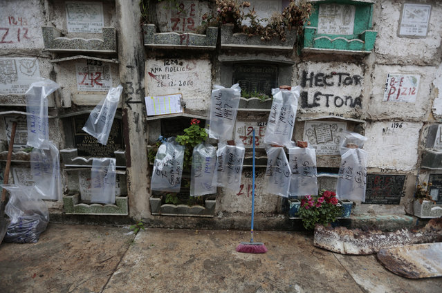 Plastic bags, some bearing identification codes, others the s*x and the year of death of the exhumed bodies, hang from the crypts at the General Cemetery in Guatemala City May 24, 2013. (Photo by Jorge Dan Lopez/Reuters)