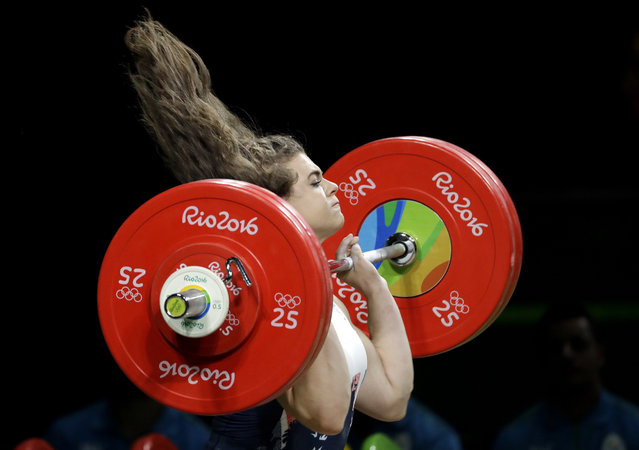 Rebekah Tiler, of Great Britain, competes in the women's 69kg weightlifting competition at the 2016 Summer Olympics in Rio de Janeiro, Brazil, Wednesday, August 10, 2016. (Photo by Mike Groll/AP Photo)