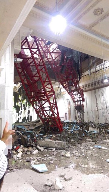 Damage caused by a collapsed crane is seen in the Grand Mosque in the Muslim holy city of Mecca, Saudi Arabia September 11, 2015. (Photo by Reuters/Saudi News Agency)