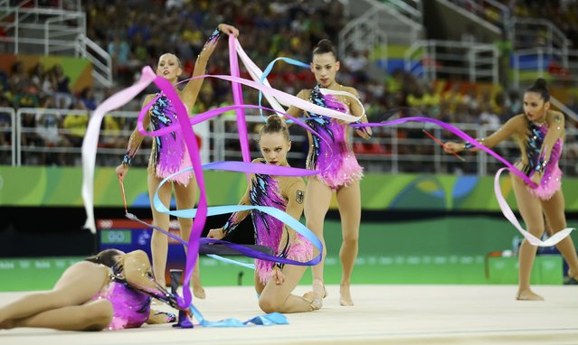 2016 Rio Olympics, Rhythmic Gymnastics, Preliminary, Group All-Around Qualification, Rotation 1, Rio Olympic Arena, Rio de Janeiro, Brazil on August 20, 2016. Team Germany (GER) compete using ribbons. (Photo by Mike Blake/Reuters)