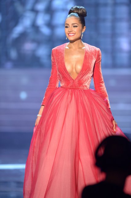 Miss USA, Olivia Culpo, appears on stage during the Miss Universe Pageant at Planet Hollywood in Las Vegas, Nevada on December 19, 2012. Olivia Culpo was crowned Miss Universe 2012,  beating out beauties from around the world to claim the coveted title.  The title of first runner-up title went to the contestant from the Philippines, Janine Tugonon. (Photo by Joe Klamar/AFP Photo)