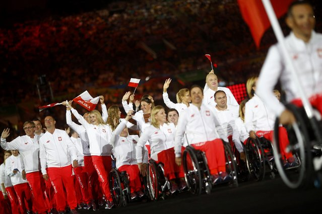 2016 Rio Paralympics, Opening ceremony, Maracana, Rio de Janeiro, Brazil on September 7, 2016. Athletes from Poland take part in the opening ceremony. (Photo by Ricardo Moraes/Reuters)