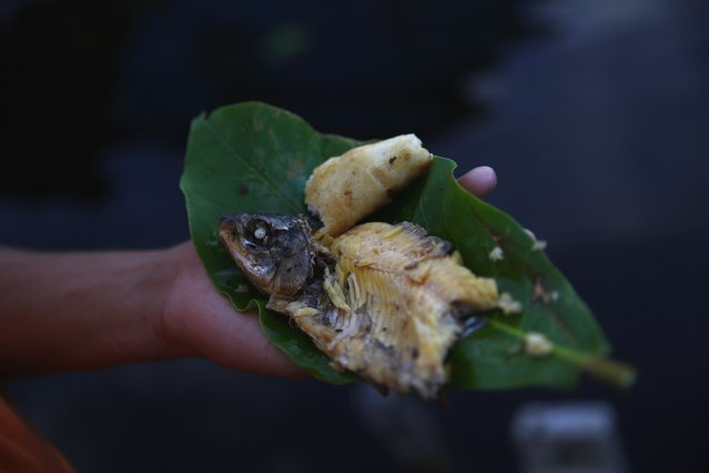 A boy holds a cooked fish on a leaf in the village of Ologa in the western state of Zulia October 23, 2014. (Photo by Jorge Silva/Reuters)