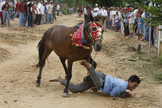 A man falls from a horse during a religious ceremony at Virhear Sour village in Kandal province, Cambodia, October 12, 2015. (Photo by Samrang Pring/Reuters)