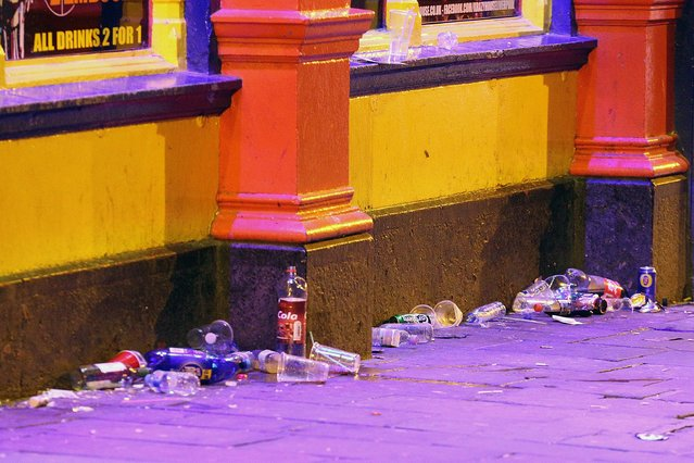 Drink offers pull in the new students for big nights out and often rubbish is left behind after the fun is over in Portsmouth, Hampshire on September 21, 2016. (Photo by Paul Jacobs/PictureExclusive.com)