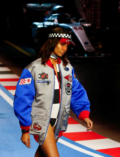 A model presents a creation from the Tommy Hilfiger Spring/Summer 2018 collection during Milan Fashion Week in Milan, Italy February 25, 2018. (Photo by Tony Gentile/Reuters)