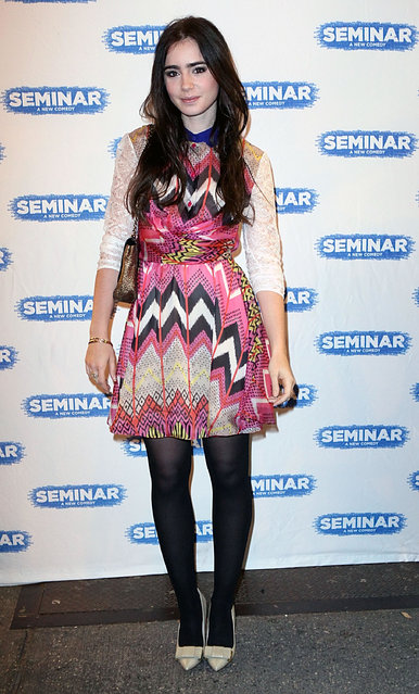 "Lily Collins attends the Broadway opening night of ""Seminar"" at The Golden Theatre on November 20, 2011 in New York City.  (Photo by Robin Marchant)"