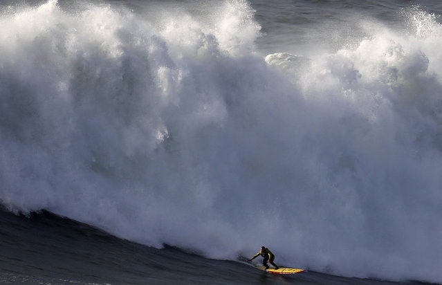 Big-wave surfer Garrett McNamara drops in on a large wave at Praia do Norte in Nazare, January 29, 2013. (Photo by Rafael Marchante/Reuters)