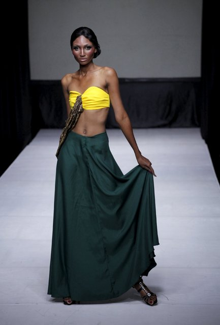A model presents a creation of Haitian designer Jean Abimael Faustin during Haiti Fashion Week 2015 in Port-au-Prince, Haiti, November 7, 2015. (Photo by Andres Martinez Casares/Reuters)