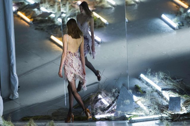 A model presents a creation from the Rodarte Fall/Winter 2015 collection during New York Fashion Week, February 17, 2015. (Photo by Lucas Jackson/Reuters)