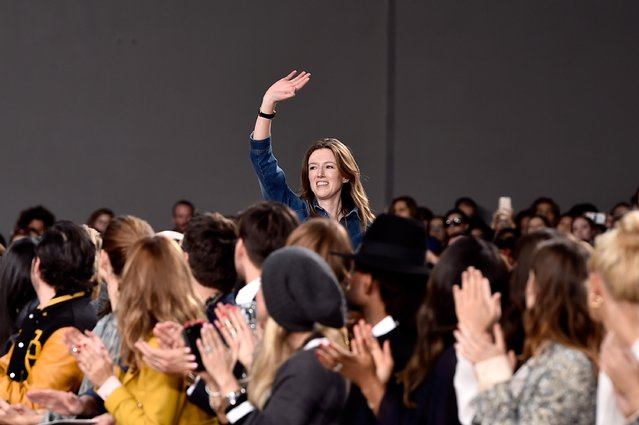 PARIS, FRANCE - MARCH 08:  Designer Clare Waight Keller appears on the runway during the Chloe show as part of the Paris Fashion Week Womenswear Fall/Winter 2015/2016 on March 8, 2015 in Paris, France.  (Photo by Pascal Le Segretain/Getty Images)