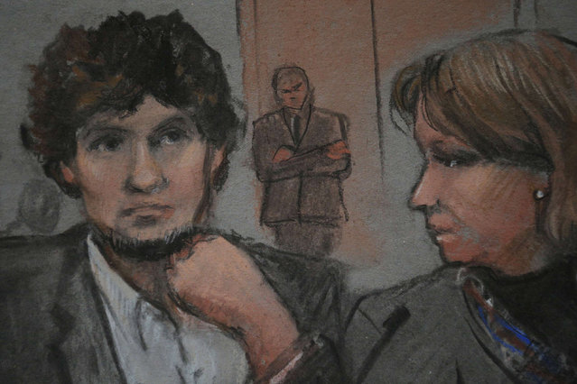 A courtroom sketch shows accused Boston Marathon bomber Dzhokhar Tsarnaev (L) in court on the second day of his trial at the federal courthouse in Boston, Massachusetts March 5, 2015. Tsarnaev, 21, is accused of killing three people and injuring 264 with a pair of homemade pressure-cooker bombs on April 15, 2013 at the Boston Marathon finish line.   REUTERS/Jane Flavell Collins