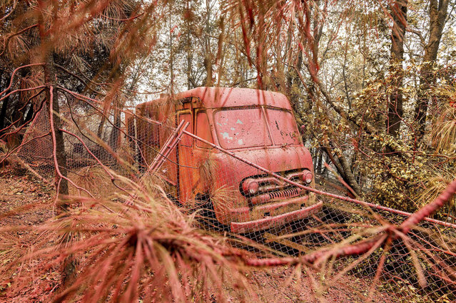 Fire retardant coats a vehicle in the Lakehead-Lakeshore community of unincorporated Shasta County, Calif., as the Salt Fire burns nearby on Friday, July 2, 2021. (Photo by Noah Berger/AP Photo)