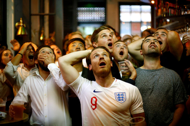 England fans react as they watch Croatia play England during the World Cup in Trafalgar Square, London, Britain, July 11, 2018. (Photo by Henry Nicholls/Reuters)