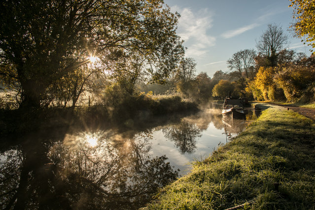 The autumn colours are reflected in the water of the Kennet and Avon canal near Limpley Stoke as the sun rises on November 13, 2017 near Bath, England. After a warm autumn, with temperatures above average, much colder weather has arrived in many parts of the UK, signalling the start of more wintery weather for the coming few weeks. (Photo by Matt Cardy/Getty Images)