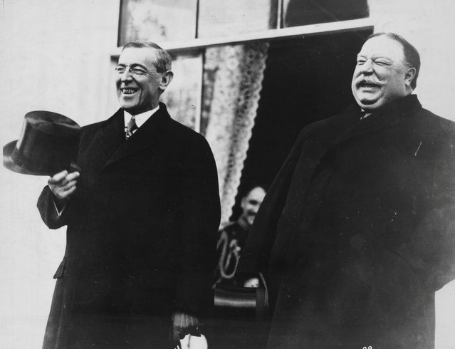 President-elect Woodrow Wilson and President Taft laugh on the White House steps before departing together for Wilson's inauguration in Washington, D.C., U.S. in March 1913. (Photo by Reuters/Library of Congress)