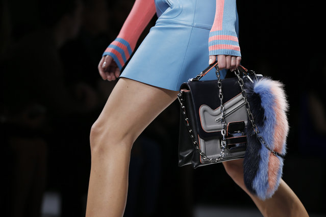 A model wears a creation for Versace women's Fall-Winter 2016-2017 collection, part of the Milan Fashion Week, unveiled in Milan, Italy, Friday, February 26, 2016. (Photo by Luca Bruno/AP Photo)
