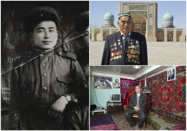 World War Two veteran Uzokboy Akhrayev, 90, is seen in an undated handout picture (L), posing for a picture in Khast Imam square in Tashkent (Top R) and at home in Uzbekistan April 11, 2015. Akhrayev served in the artillery of the Soviet Union army from January 1943 until May 1950. Originally from Uzbekistan, the end of World War Two found him in Berlin, Germany. (Photo by Valery Kharitonov/Reuters/Family handout (L))