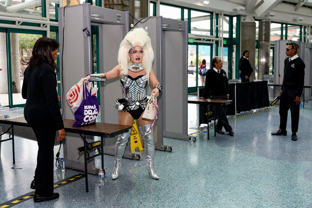 A drag queen goes through security a RuPaul's DragCon in Los Angeles, USA on May 26, 2019. (Photo by Ronen Tivony/SOPA Images/Rex Features/Shutterstock)