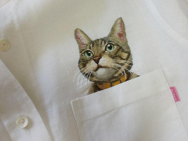 Embroider Cats On Shirts By Hiroko Kubota