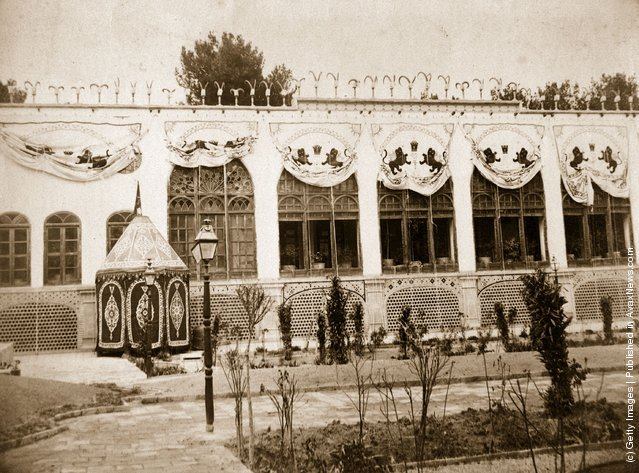 1894: Facade of the Royal Palace in Isfahan, Iran