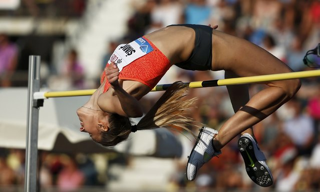 Ana Simic of Croatia performs during the high jump women event at the IAAF Diamond League Athletissima athletics meeting at the Pontaise Stadium in Lausanne, Switzerland, July 9, 2015. (Photo by Pierre Albouy/Reuters)