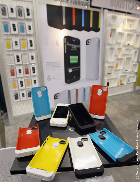 Bootcase displayed snap-on cases with extended batteries for iPhones at the 2012 International Consumer Electronics Show