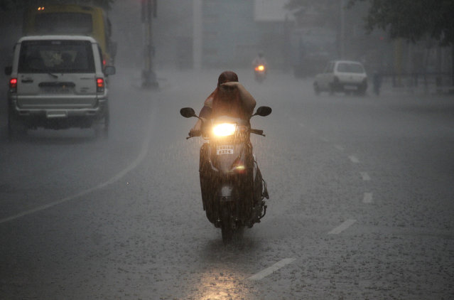 A woman rides a scooter during heavy rainfall in  Chandigarh July 10, 2012. (Photo by Ajay Verma/Reuters)