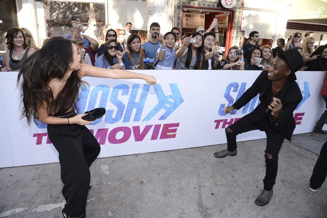 """Mari Takahashi and Keith Leak Jr. seen at the Los Angeles Premiere of AwesomenessTV and Defy Media's """"SMOSH: THE MOVIE"""" held at Westwood Village Theatre on Wednesday, July 22, 2015, in Los Angeles. (Photo by Dan Steinberg/Invision for AwesomenessTV/AP Images)"""