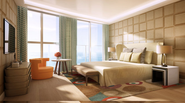Bedroom design. The enormous Sky Penthouse will have five bedrooms. (Photo by Tour Odeon)