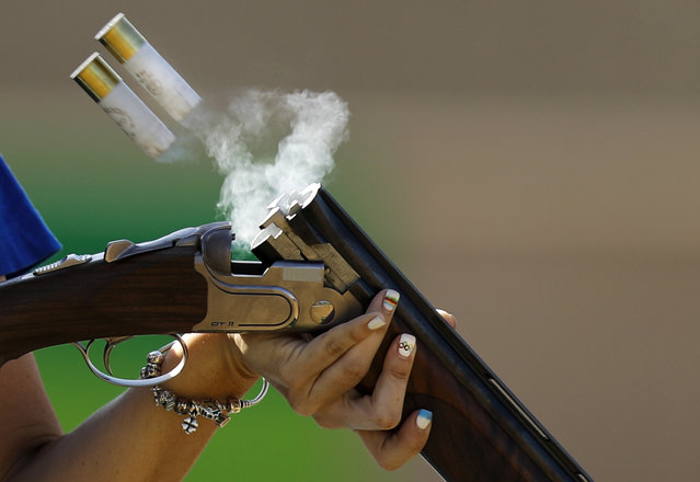 Alessandra Perilli, of San Marino, competes during the trap women's qualification at the 2016 Summer Olympics in Rio de Janeiro, Brazil, Sunday, August 7, 2016. (Photo by Hassan Ammar/AP Photo)