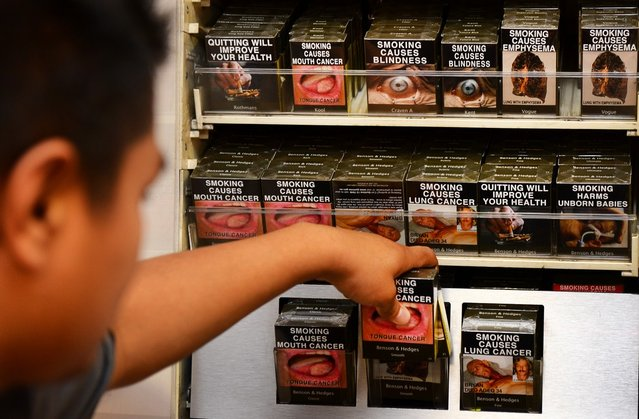 An employee in a bookshop adjusts packaged cigarettes which have to be sold in identical olive-brown packets bearing the same typeface and largely covered with graphic health warnings, with the same style of writing so the only identifier of a brand will be the name on the packet, in Sydney on December 1, 2012.  A new world-first law forcing tobacco companies to sell cigarettes in identical packets came into effect Saturday in Australia in an effort to strip any glamour from smoking and prevent young people from taking up the habit.  AFP PHOTO/William WEST        (Photo credit should read WILLIAM WEST/AFP/Getty Images)