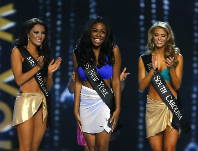 Miss New York Camille Sims react after being named a finalist in the talent competition during the Miss America 2017 pageant, Sunday, September 11, 2016, in Atlantic City, N.J. (Photo by Noah K. Murray/AP Photo)
