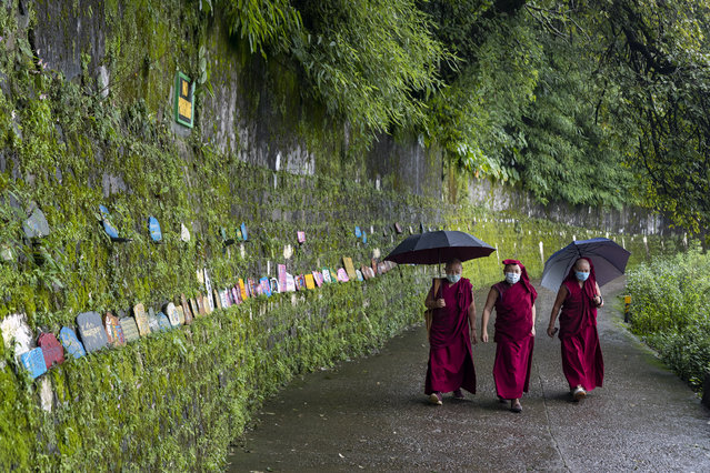 Exile Tibetan Buddhist nuns wearing  face masks  as a precaution against the coronavirus circumambulate the residence of their spiritual leader the Dalai Lama in Dharmsala, India, Thursday, September 3, 2020. (Photo by Ashwini Bhatia/AP Photo)