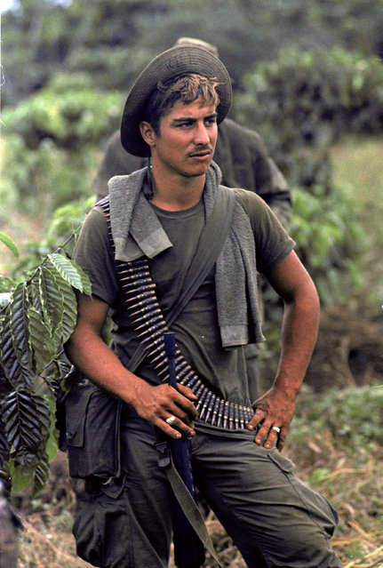 A U.S. infantryman of the 199th Light Infantry Brigade is seen on a joint Vietnamese/U.S. patrol near coffee and rubber plantations 50 miles northeast of Saigon, November 29, 1969. (Photo by Horst Faas/AP Photo)