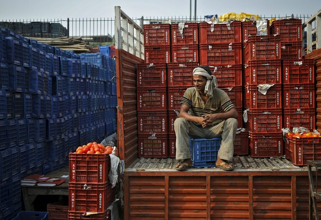 A worker sits on a truck loaded with baskets of tomatoes at a wholesale vegetable market in New Delhi, India, October 14, 2015. India's wholesale prices fell for an 11th straight month in September, plunging an annual 4.54 percent primarily on the back of tumbling oil prices, government data showed on Wednesday. (Photo by Anindito Mukherjee/Reuters)