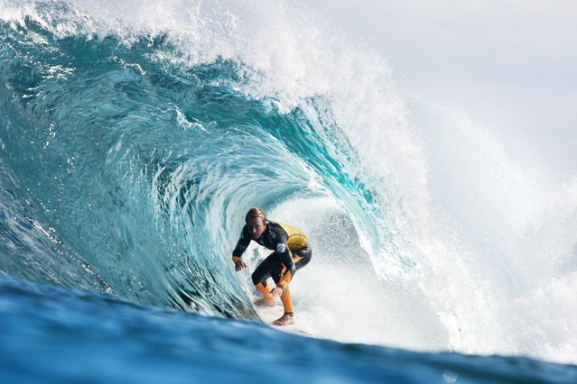 Josh Kerr of Australia advanced into the Quarterfinals of the Drug Aware Margaret River Pro after winning his Round 5 heat at The Box on April 10, 2014 in Margaret River, Australia. (Photo by 2014 Kelly Cestari)