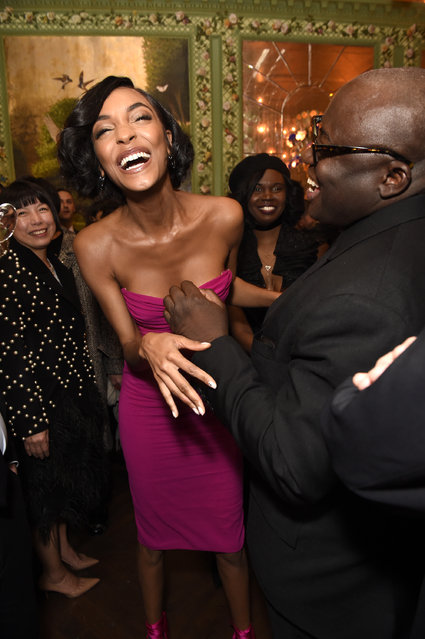 Jourdan Dunn (L) and Edward Enninful attend as Tiffany & Co. partners with British Vogue, Edward Enninful, Steve McQueen, Kate Moss and Naomi Campbell to celebrate fashion and film at the new Annabels on February 18, 2018 in London, England. (Photo by David M. Benett/Dave Benett/Getty Images for Vogue)